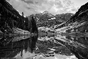 Maroon Bells Reflection In Monochrome
