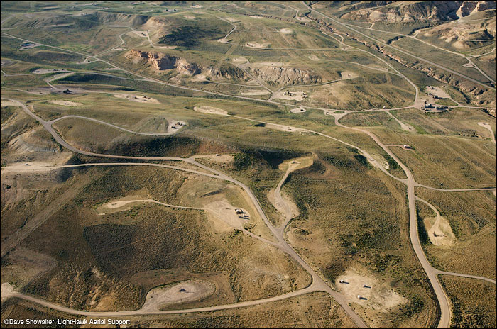 Fragmented land in the LaBarge, Wyoming Gas Field. The network of roads and gas pads have rendered the land useless for...