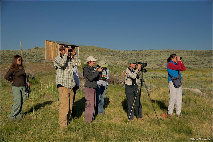 Susan Marsh of Wyoming Game and Fish leads a point count at Soda Lake wetlands. The point count was part of the Audubon...