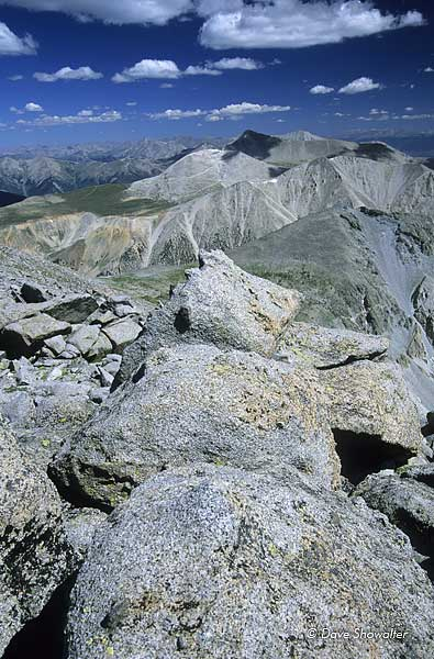 A view to the north from the summit of Mt. Shavano 14,229' shows the spine of the Collegiate Range to Mt. Antero, Mt. Princeton...