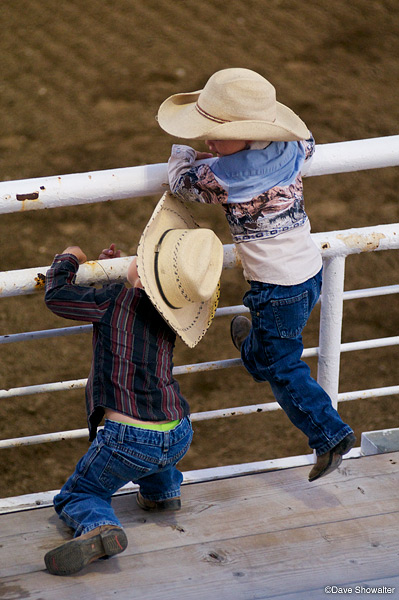 In full Western dress, these two future rodeo cowboys caufght my eye at the Cody Night Rodeo.