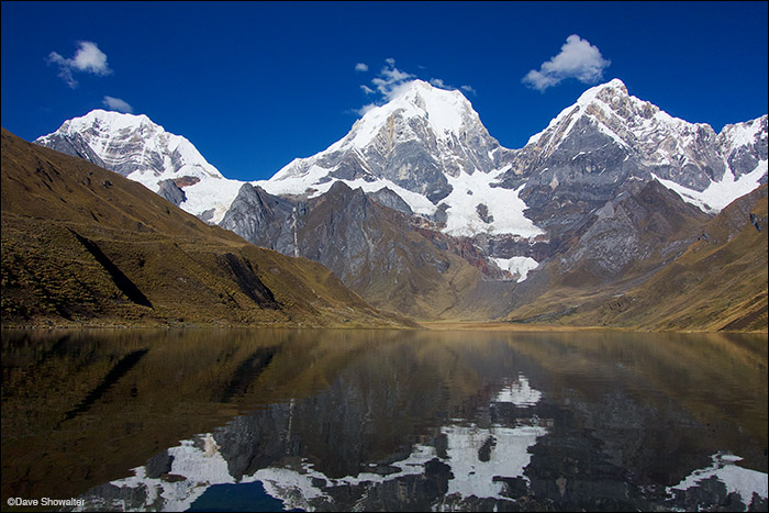 Towering Peaks of the Huayhuash Yerupaja (6634m 2nd highest in Peru), Yerupaja Chico (R, 6094m), and Siula Grande (L, 6,344m)...