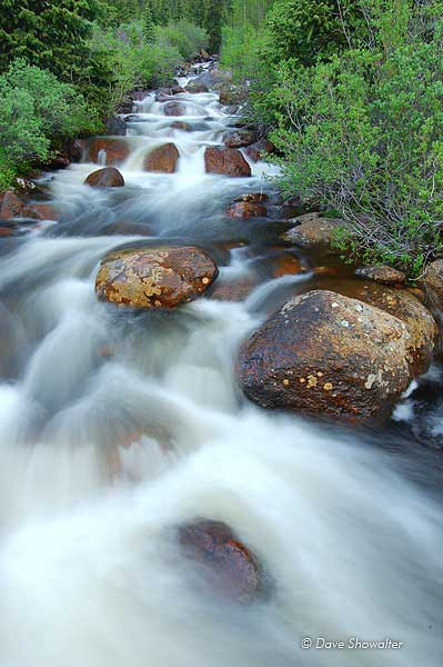 Geneva Creek roars with runoff from melting snowpack on the high peaks of the Mount Evans Wilderness Area in early summer.