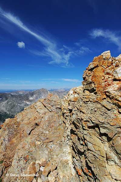 Huron Peak, 14,005 is the distant peak from the summit of Missouri Mountain, 14,067'.