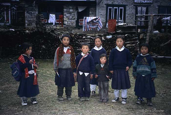 Nepali kids, Sagarmatha National Park, photo