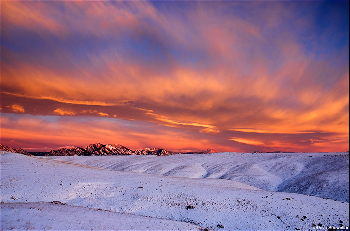 winter sunrise, flatirons, photo