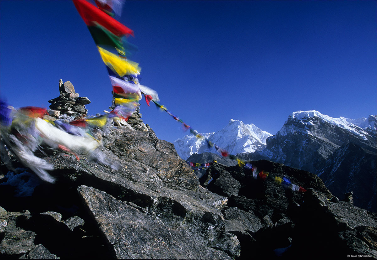 Himalaya, Gokyo Ri, prayer flags, photo