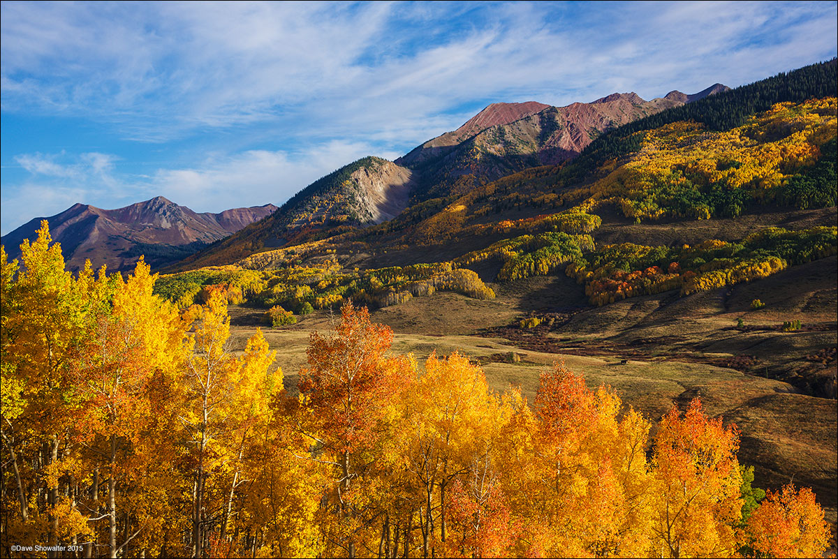 A glade and gold and orange aspen trees at peak autumn brilliance leads to layers of more colorful aspen near the town of Gothic...