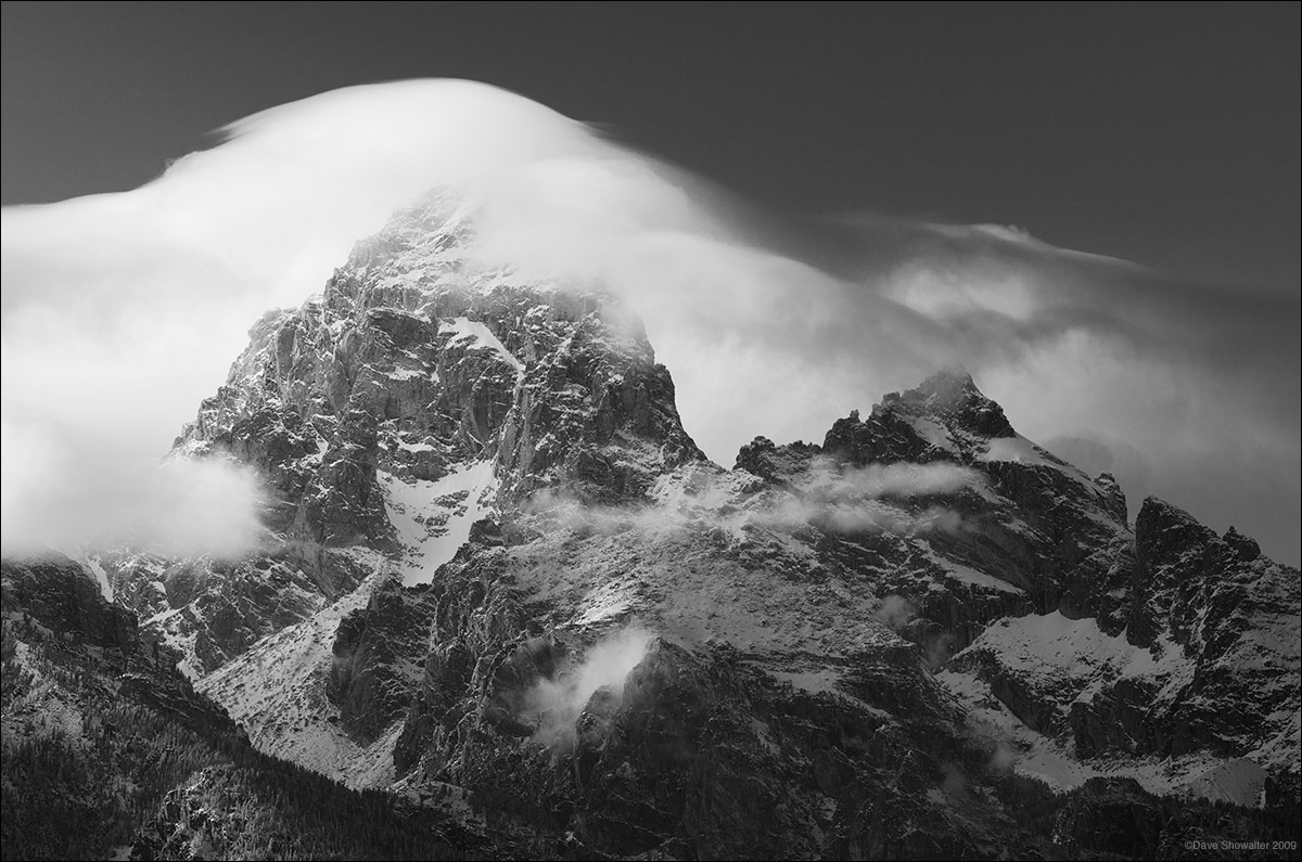 Teewinot, jackson hole, mountain wave cloud, photo