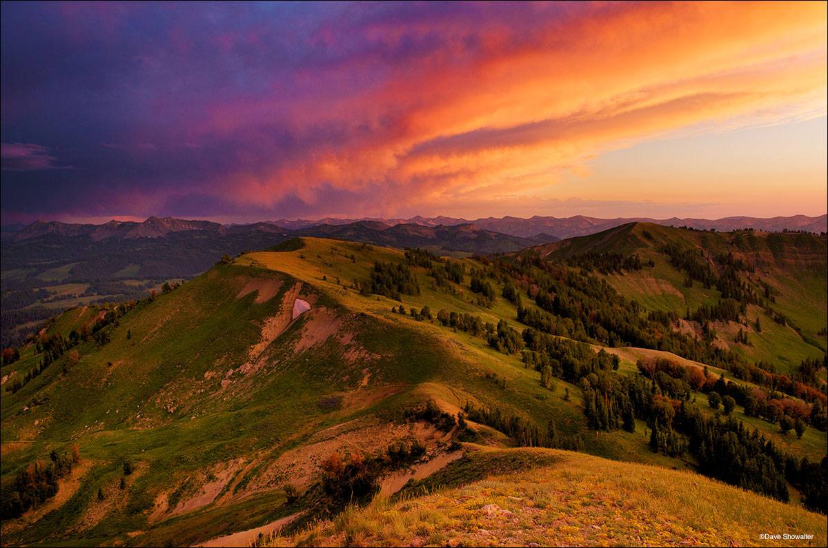 From Lookout Peak, I watched a powerful thunderstorm skirt the ridge leading to the mountain where I stood solo as sunset lit...
